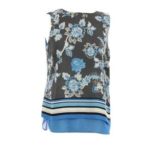 Blue Black Floral Sleeveless Blouse Size Small